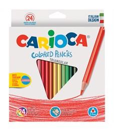 Карандаши цветные Carioca 24цв., трехгран., заточен., картон, европодвес