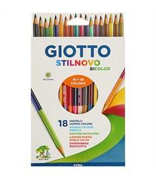 """Карандаши цветные двусторонние Giotto """"Stilnovo Bicolor"""", 36цв., 18шт., заточен., картон, европодвес"""
