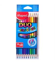 """Карандаши цветные двусторонние Maped """"Color Peps"""", 24цв., 12шт., трехгран., заточ., картон,европодв."""