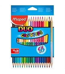 """Карандаши цветные двусторонние Maped """"Color Peps"""", 36цв., 18шт., трехгран., заточ., картон,европодв."""