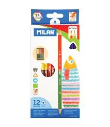 """Карандаши цветные двусторонние Milan """"1131"""", 24цв., 12шт., трехгран., заточен., картон, европодвес"""