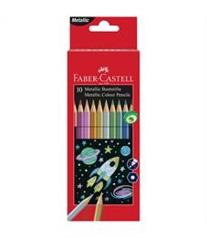 Карандаши цветные Faber-Castell, 10цв., металлик,  заточен., картон. упак.