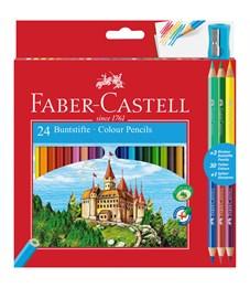 Карандаши цветные Faber-Castell, 24цв.+4, заточен., картон, европодвес, с точилкой
