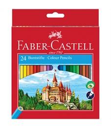 Карандаши цветные Faber-Castell, 24цв., заточен., картон, европодвес