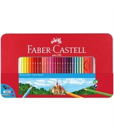 Карандаши цветные Faber-Castell, 60цв.+2 ч/г кар.+ластик+точилка, заточен., метал. кор.