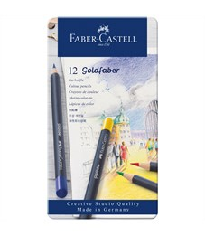 "Карандаши цветные Faber-Castell ""Goldfaber"" 12цв., круглые, заточен., метал. коробка"