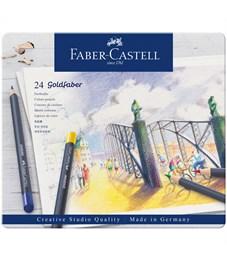"Карандаши цветные Faber-Castell ""Goldfaber"" 24цв., круглые, заточен., метал. коробка"
