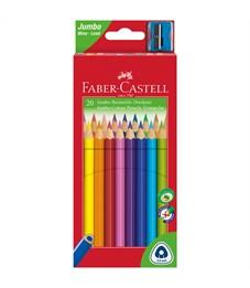 """Карандаши цветные Faber-Castell """"Jumbo"""" 20цв., трехгран., утолщ., заточен., картон, евр., с точилкой"""