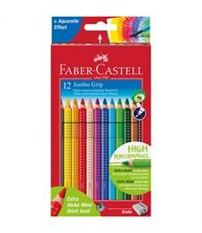"""Карандаши цветные Faber-Castell """"Jumdo Grip"""", 12цв., трехгран., утолщен., заточен., картон, европодв"""