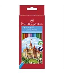 """Карандаши цветные Faber-Castell """"Замок"""", 12цв., заточен., картон, европодвес, с точилкой"""