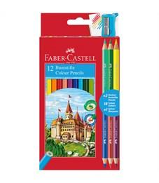 """Карандаши цветные Faber-Castell """"Замок"""", 18цв., 12+3шт., заточен., картон, европодвес, с точилкой"""
