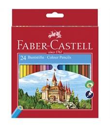 """Карандаши цветные Faber-Castell """"Замок"""", 24цв., заточен., картон, европодвес, с точилкой"""