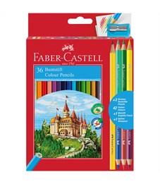 """Карандаши цветные Faber-Castell """"Замок"""", 42цв., 36+3+1шт., заточен., картон, европодвес, с точилкой"""