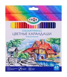 """Карандаши цветные Гамма """"Классические"""", 48цв., заточен., картон, европодвес"""