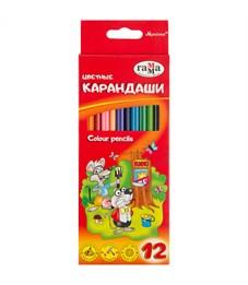 """Карандаши цветные Гамма """"Мультики"""", 12цв., трехгранные, заточен., картон, европодвес"""