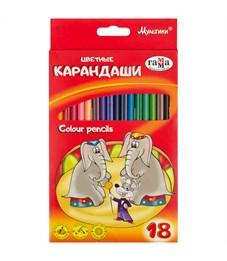"""Карандаши цветные Гамма """"Мультики"""", 18цв., трехгранные, заточен., картон, европодвес"""