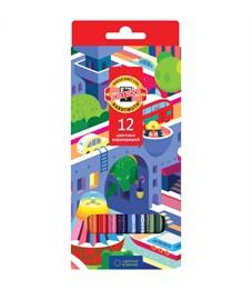 """Карандаши цветные Koh-I-Noor """"Город мечты"""", 12цв., заточен., картон, европодвес"""