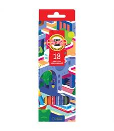 """Карандаши цветные Koh-I-Noor """"Город мечты"""", 18цв., заточен., картон, европодвес"""
