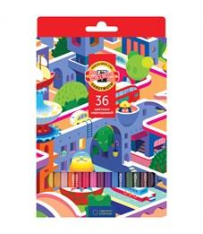 """Карандаши цветные Koh-I-Noor """"Город мечты"""", 36цв., заточен., картон, европодвес"""