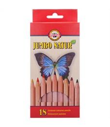 """Карандаши цветные Koh-I-Noor """"Jumbo Natur"""", 18цв., утолщенные, заточен., европодвес"""