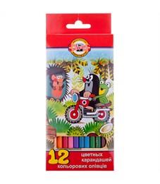 """Карандаши цветные Koh-I-Noor """"Крот"""", 12цв., заточен., картон, европодвес"""
