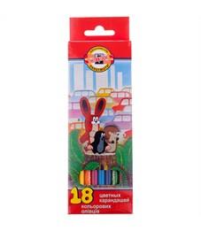 """Карандаши цветные Koh-I-Noor """"Крот"""", 18цв., заточен., картон, европодвес"""