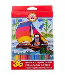 """Карандаши цветные Koh-I-Noor """"Крот"""", 36цв., заточен., картон, европодвес"""