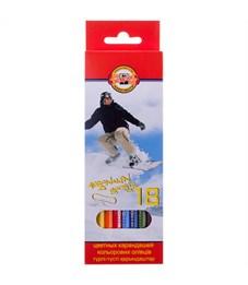 """Карандаши цветные Koh-I-Noor """"Спорт"""", 18цв., заточен., картон, европодвес"""