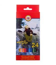 """Карандаши цветные Koh-I-Noor """"Спорт"""", 24цв., заточен., картон, европодвес"""