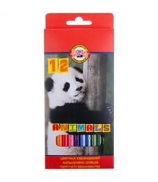 """Карандаши цветные Koh-I-Noor """"Животные"""", 12цв., заточен., картон, европодвес"""