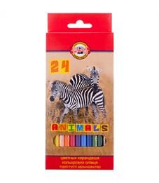 """Карандаши цветные Koh-I-Noor """"Животные"""", 24цв., заточен., картон, европодвес"""