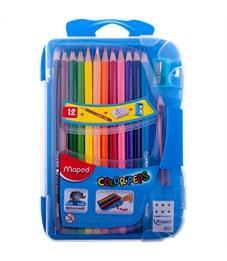 """Карандаши цветные Maped """"Color Peps"""", 12цв+1мини ч/г, трехгран., заточен.,пласт.пенал+точилка,ластик"""