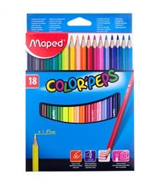"""Карандаши цветные Maped """"Color Peps"""", 18цв., трехгран., заточен., картон, европодвес"""