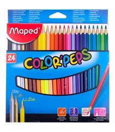 """Карандаши цветные Maped """"Color Peps"""", 24цв., трехгран., заточен., картон, европодвес"""