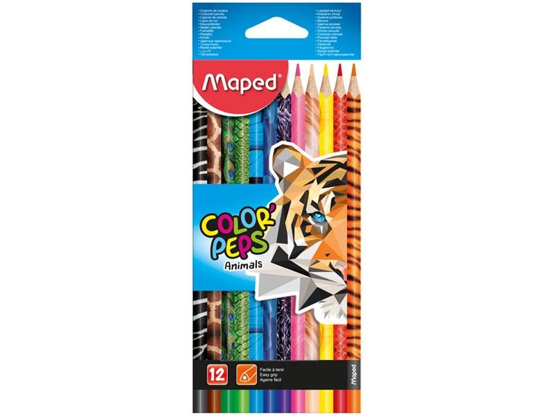"""Карандаши цветные Maped """"Color Peps Animals"""", 12цв., трехгран., заточен., картон, европодвес"""