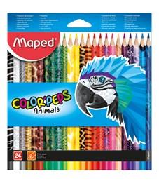 """Карандаши цветные Maped """"Color Peps Animals"""", 24цв., трехгран., заточен., картон, европодвес"""