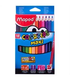 """Карандаши цветные Maped """"Color Peps Maxi"""", 12цв., трехгран.,утолщенные, заточен., картон, европодвес"""