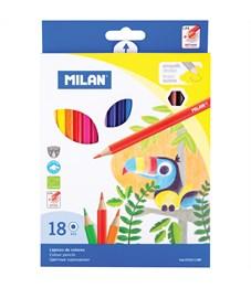 """Карандаши цветные Milan """"211"""", 18цв., заточен., картон, европодвес"""