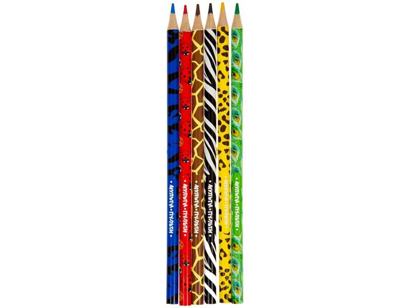 """Карандаши цветные Мульти-Пульти """"Зоопарк"""", 06цв., рисунок на корпусе, заточен., картон, европодвес"""