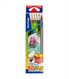 """Карандаши цветные пластиковые Berlingo """"Корабли"""", 06цв.+1 ч/г HB, заточен., картон, европодвес"""