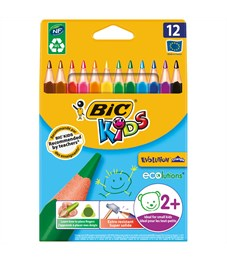 """Карандаши цветные пластиковые Bic """"Evolution Triangle"""" 12цв., утолщ.,трехгран., заточ.,картон,европ."""