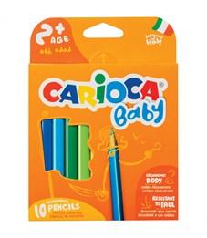 """Карандаши цветные пластиковые Carioca """"Baby"""", 10цв., утолщ., трехгран., заточен., картон, европодвес"""