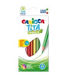 """Карандаши цветные пластиковые Carioca """"Tita"""", 12цв., трехгран., заточен., картон, европодвес"""