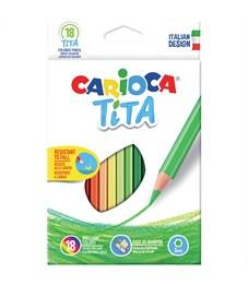 """Карандаши цветные пластиковые Carioca """"Tita"""", 18цв., заточен., картон, европодвес"""
