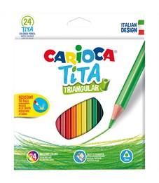 """Карандаши цветные пластиковые Carioca """"Tita"""", 24цв., трехгран., заточен., картон, европодвес"""