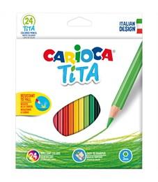 """Карандаши цветные пластиковые Carioca """"Tita"""", 24цв., заточен., картон, европодвес"""
