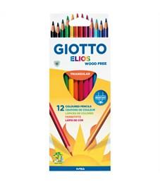"""Карандаши цветные пластиковые Giotto """"Elios"""", 12цв., трехгран., заточен., картон, европодвес"""