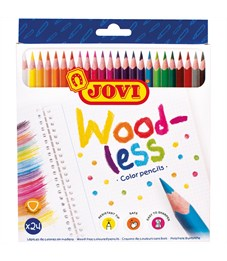 """Карандаши цветные пластиковые JOVI """"Wood-less"""", 24цв., трехгран., заточен., картон, европодвес"""