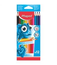 Карандаши цветные пластиковые Maped 12цв., трехгран., заточен., картон, европодвес