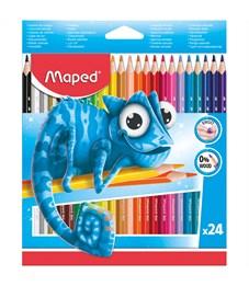 Карандаши цветные пластиковые Maped 24цв., трехгран., заточен., картон, европодвес